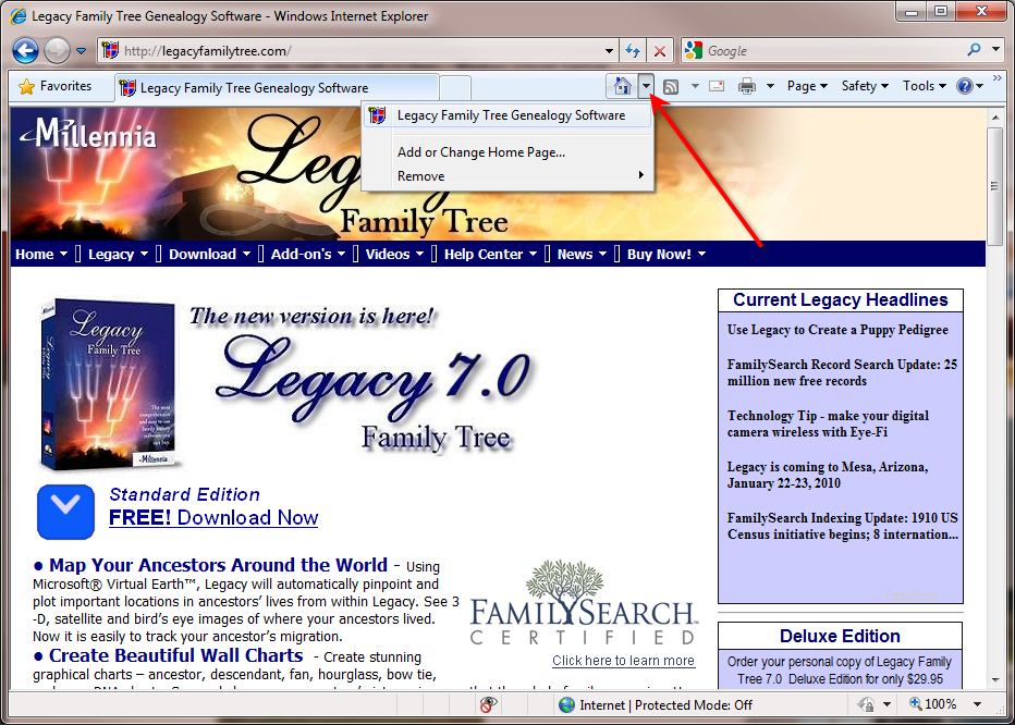 Legacy News Technology Tip Home Page Tabs